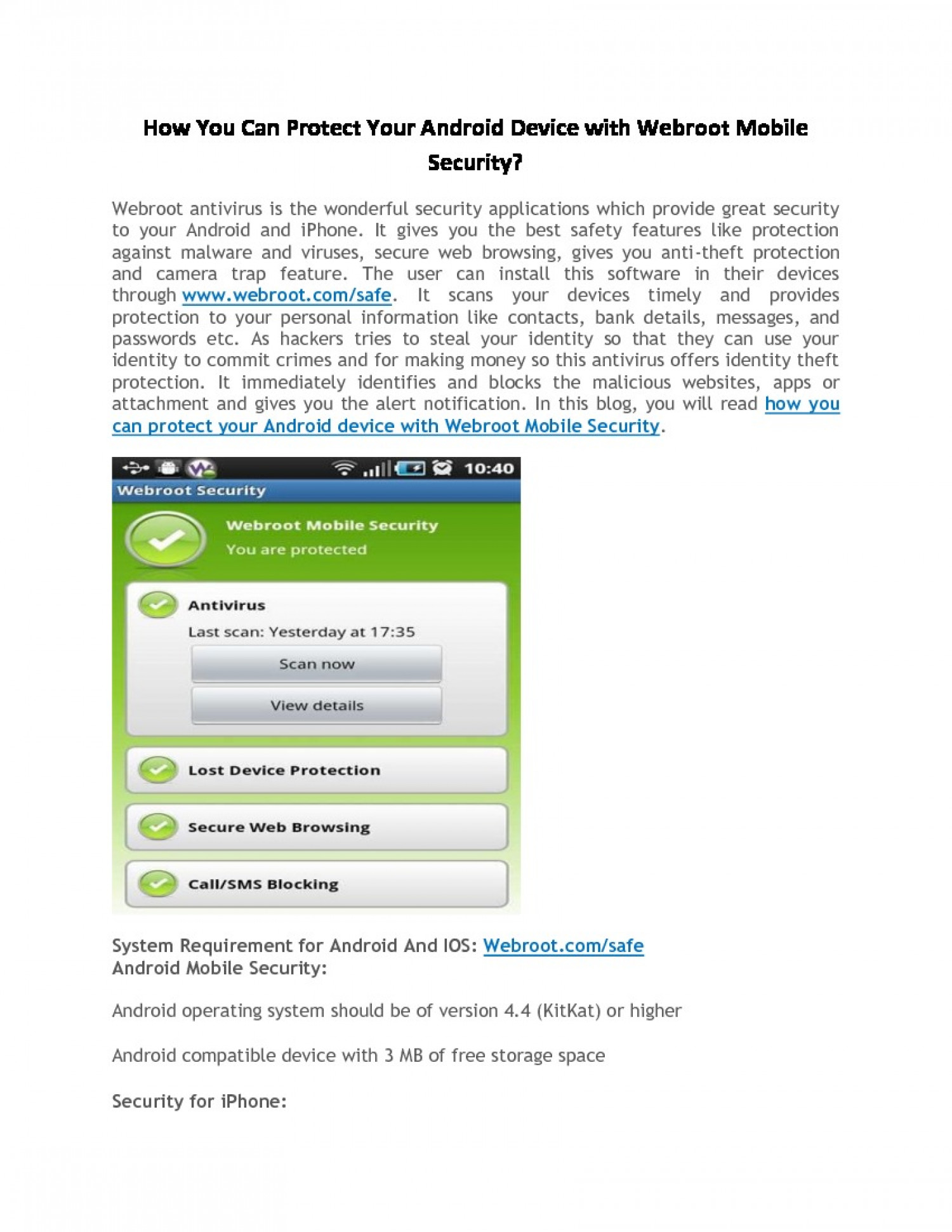 How You Can Protect Your Android Device with Webroot Mobile Security? Infographic