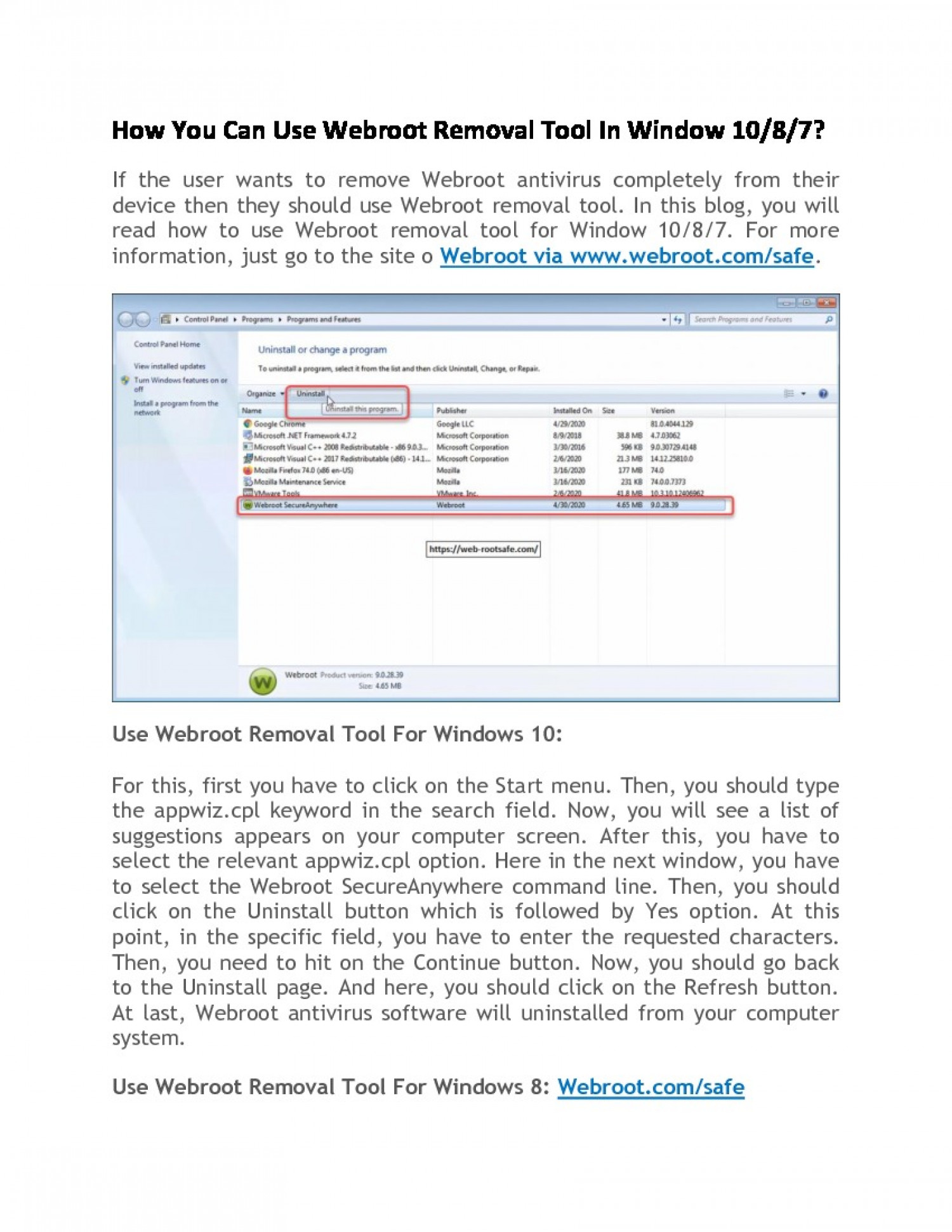 How You Can Use Webroot Removal Tool In Window 10/8/7? Infographic