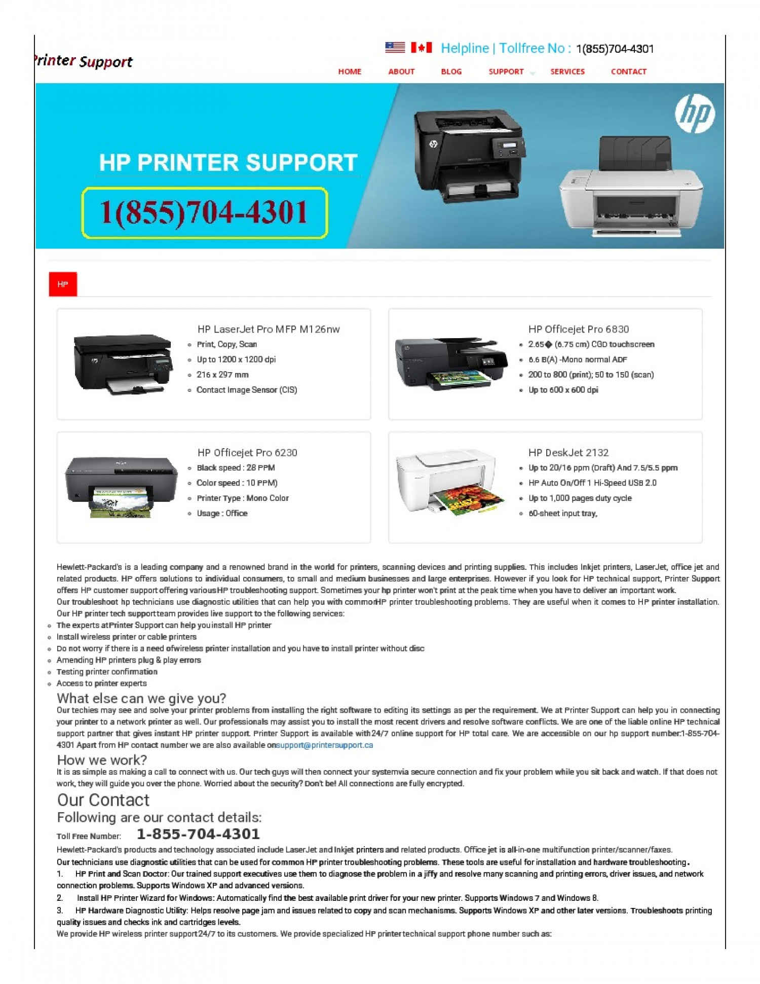 Hp Printer toll free number+1(855)704-4301 Infographic