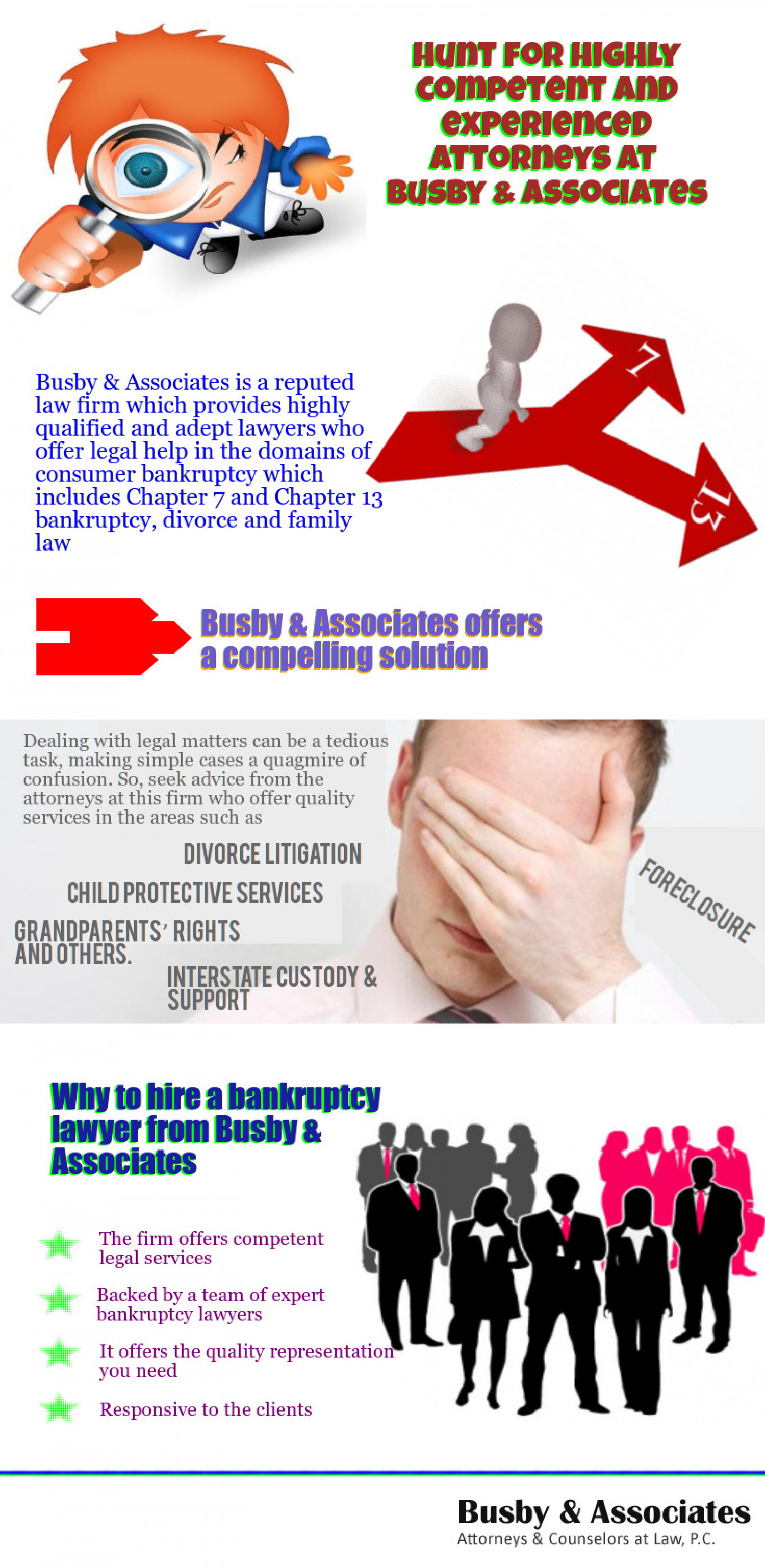Hunt for highly competent and experienced attorneys at Busby & Associates Infographic
