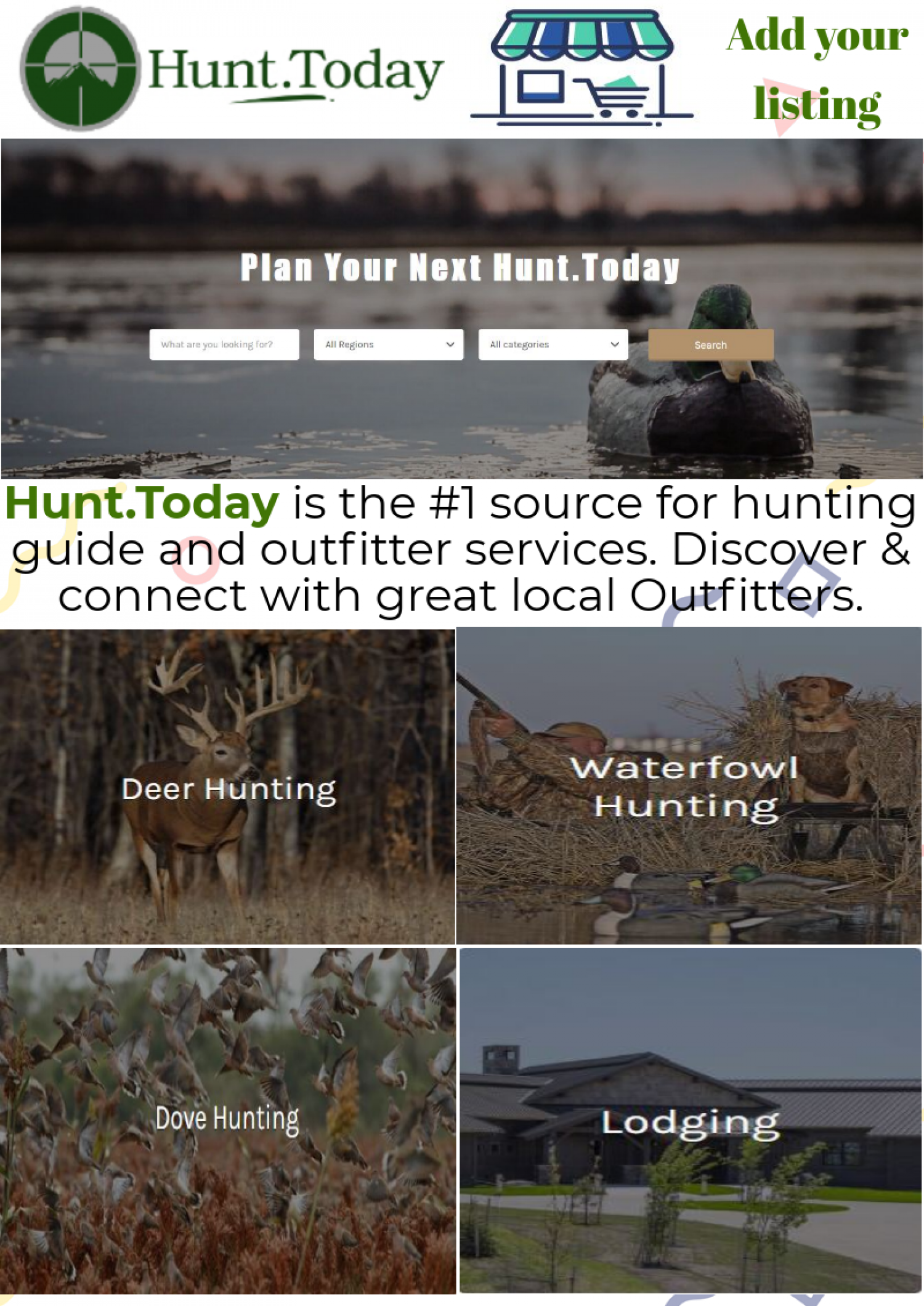 Hunting guide and outfitter services - Hunt.Today Infographic