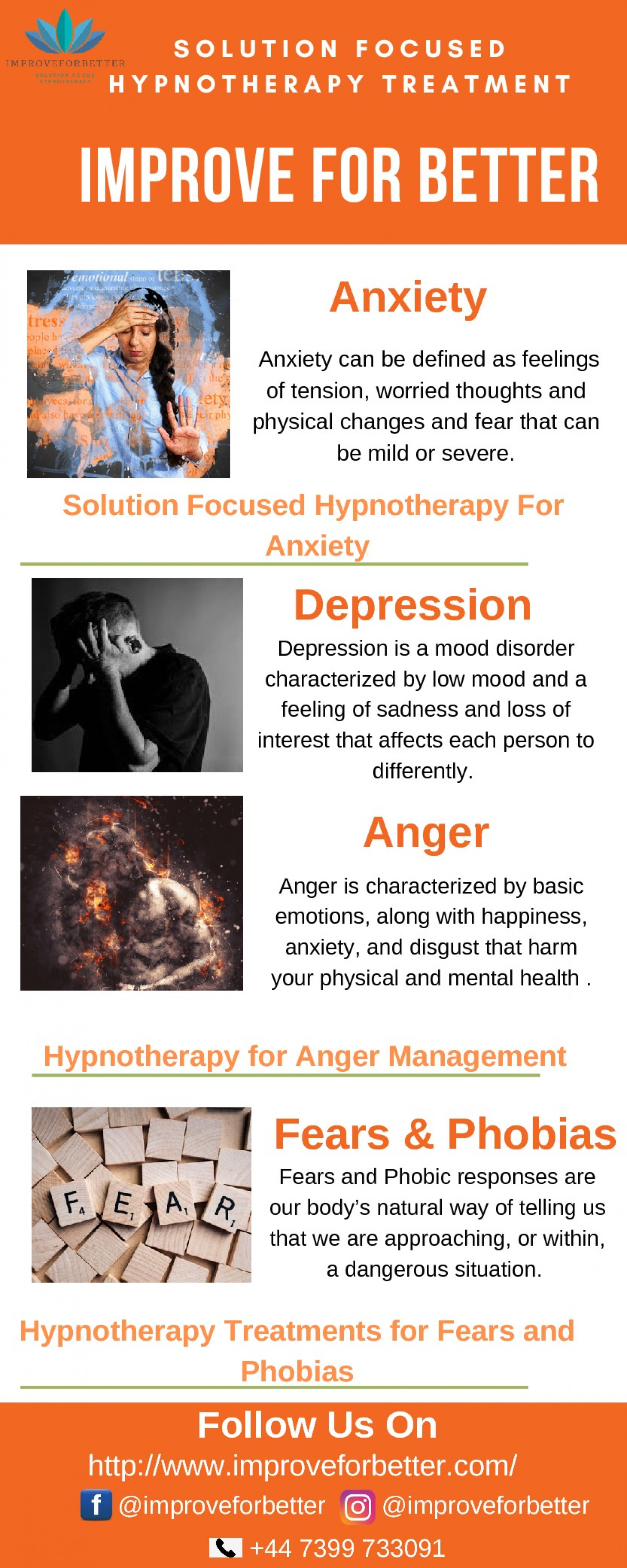 Hypnotherapy Treatments for Fears and Phobias - Improve For Better Infographic