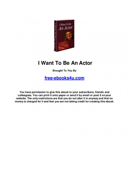 I want to be an actor  Infographic