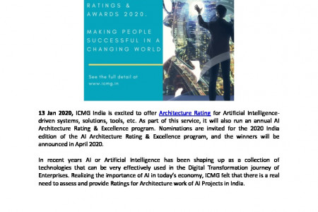 ICMG Brings Global Architecture Rating for Artificial Intelligence Enabled Systems and Solution to India Infographic