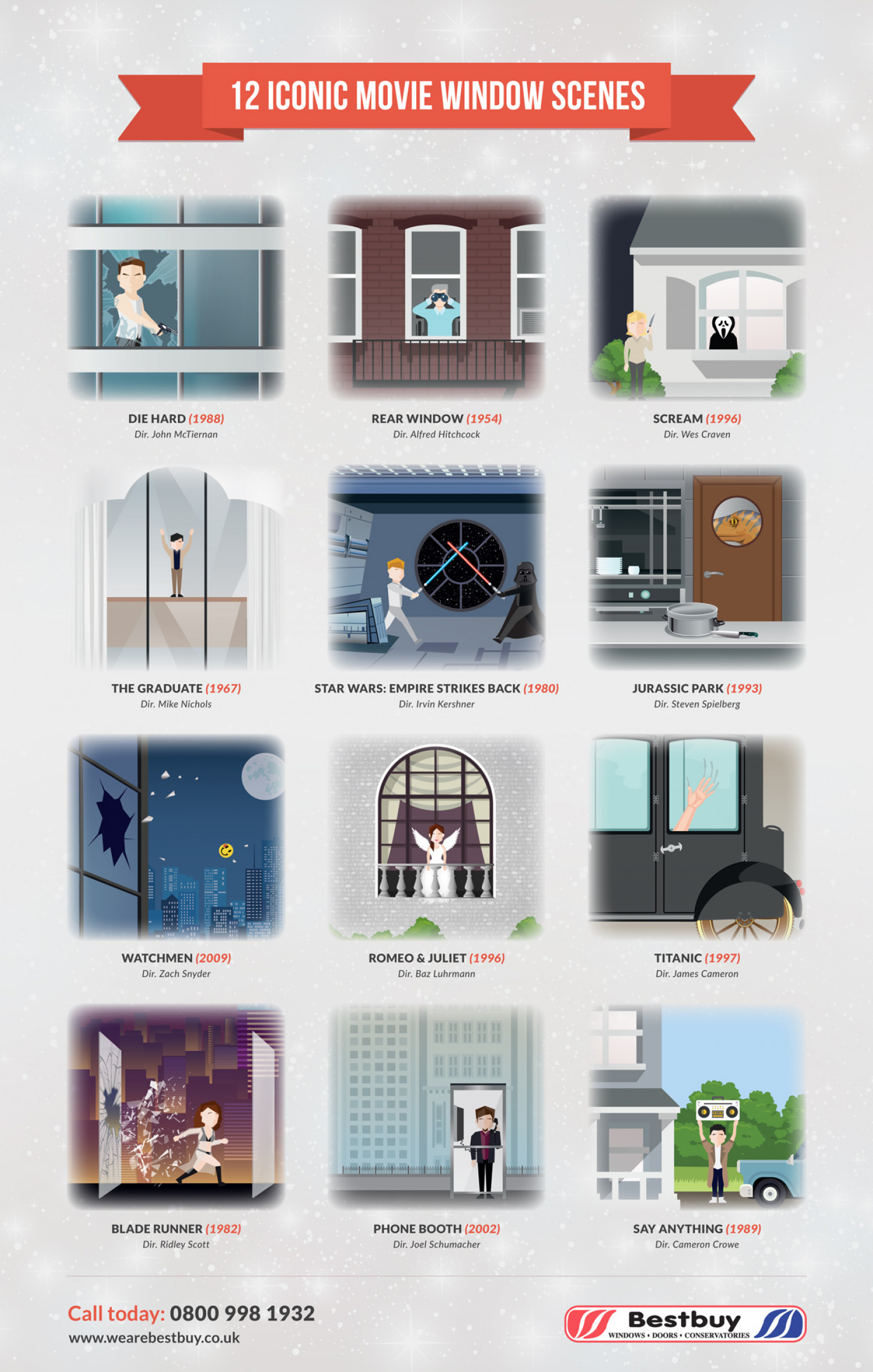 Iconic Window Scenes in Movies Infographic