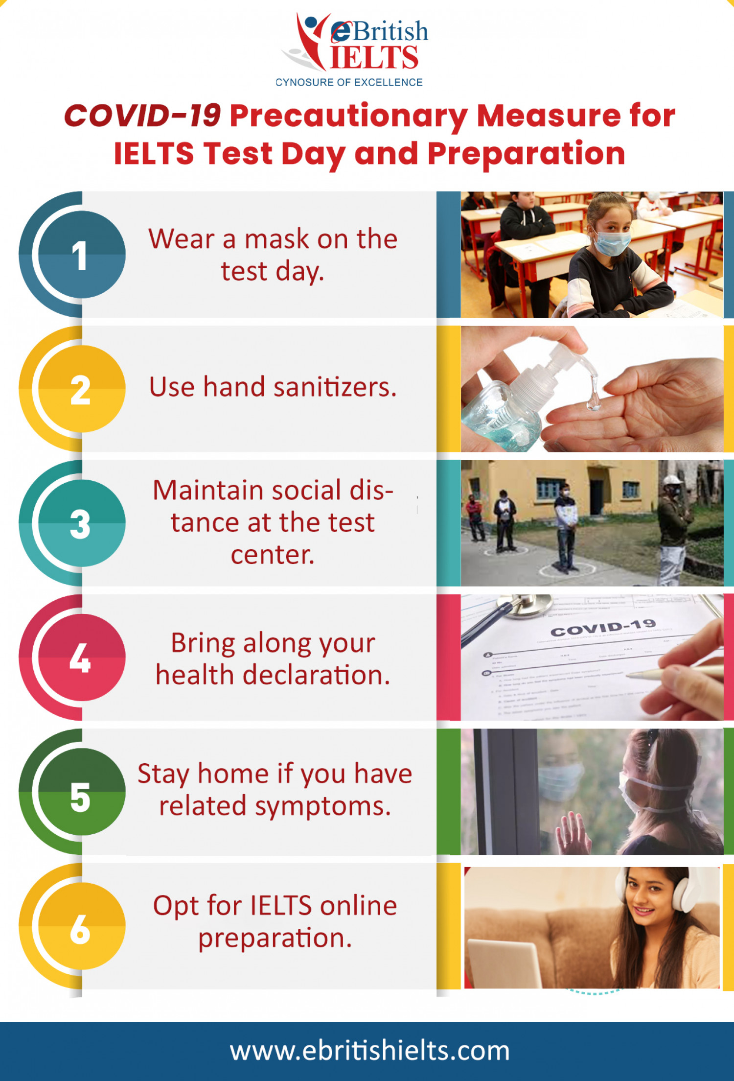 IELTS Test Day and Preparation: COVID-19 Updates Infographic