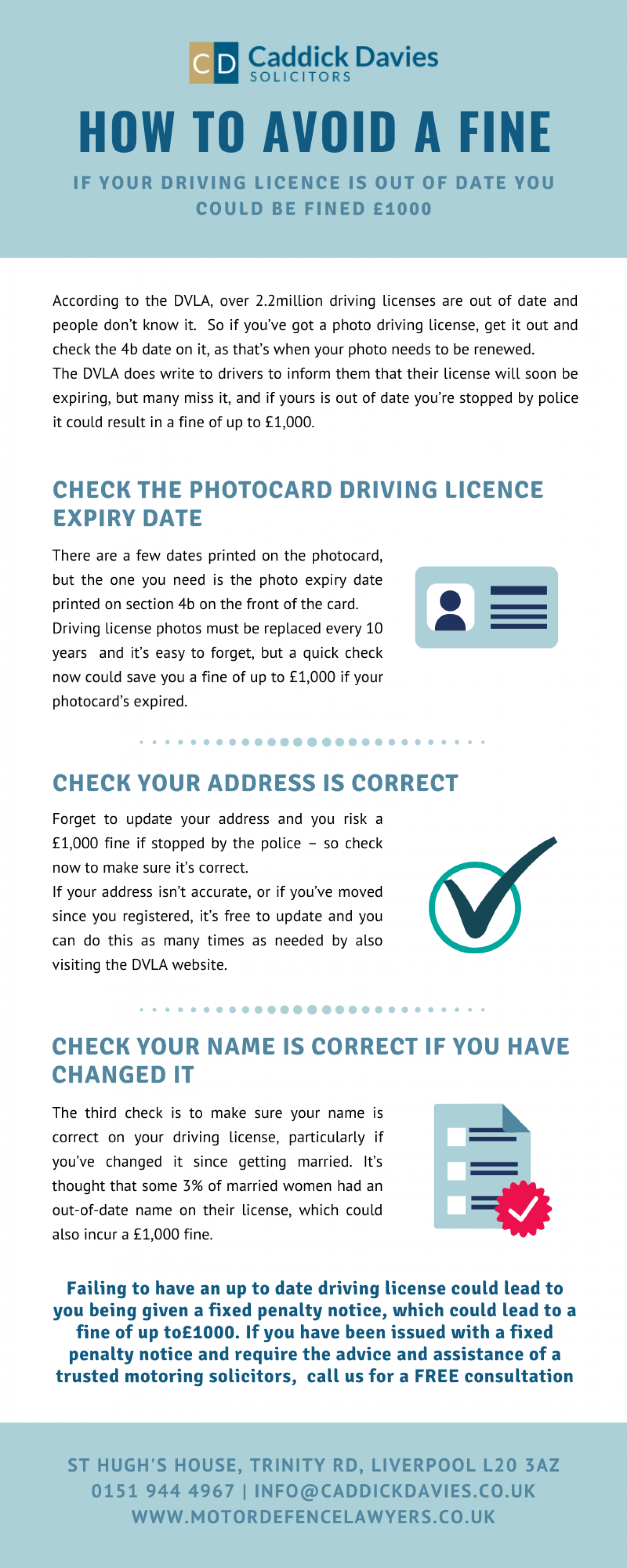 If your driving licence is out of date you could be fined £1000 - Caddick Davies Infographic