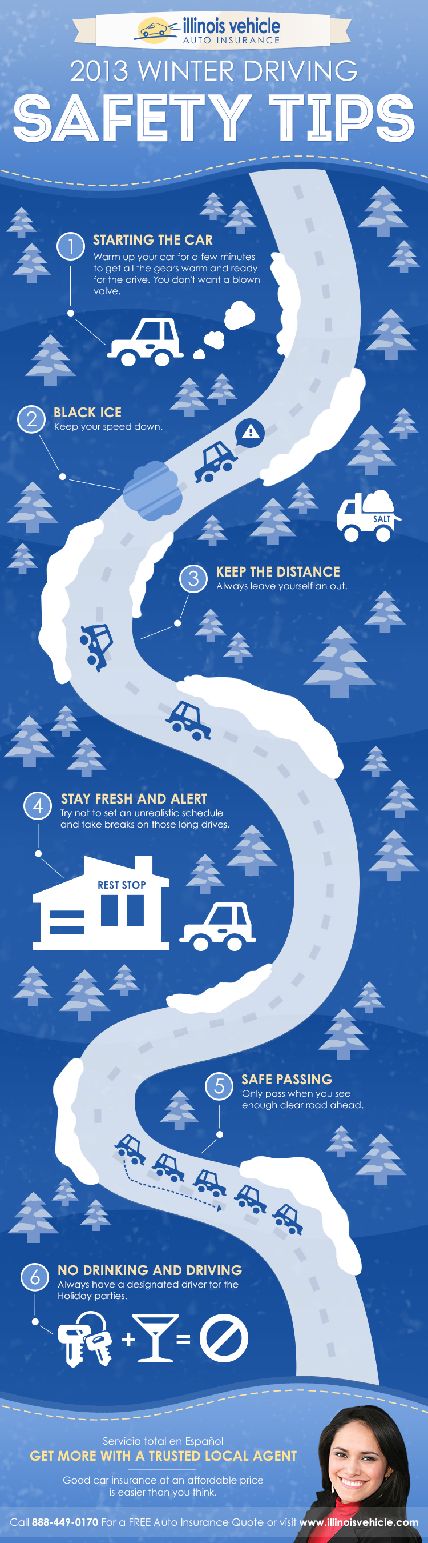 Illinois Vehicle 2013 Winter Driving Safety Tips Infographic