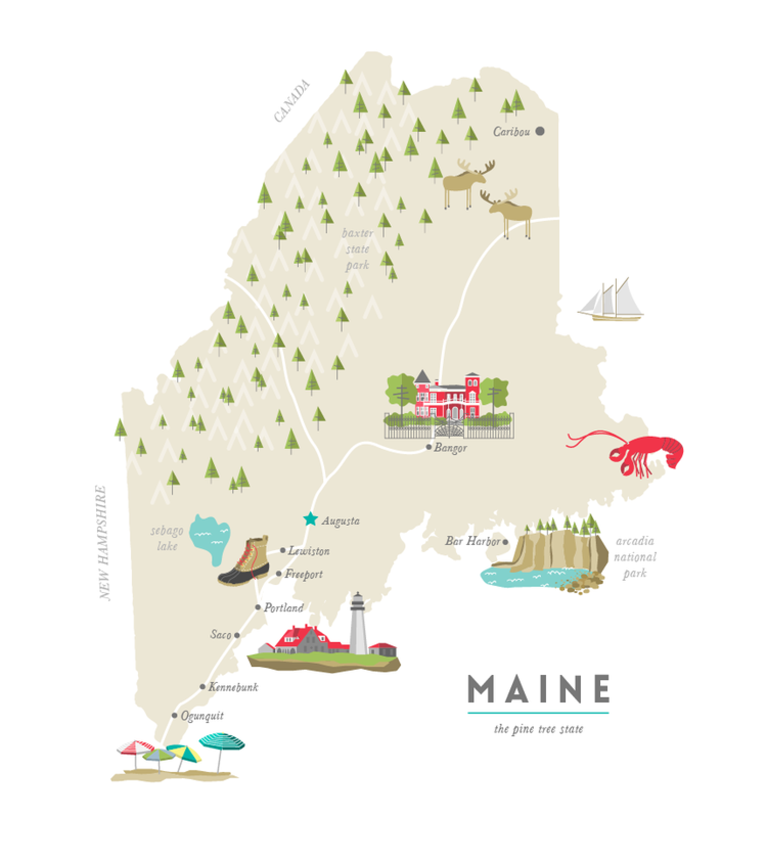 Illustrated Map of Maine Infographic