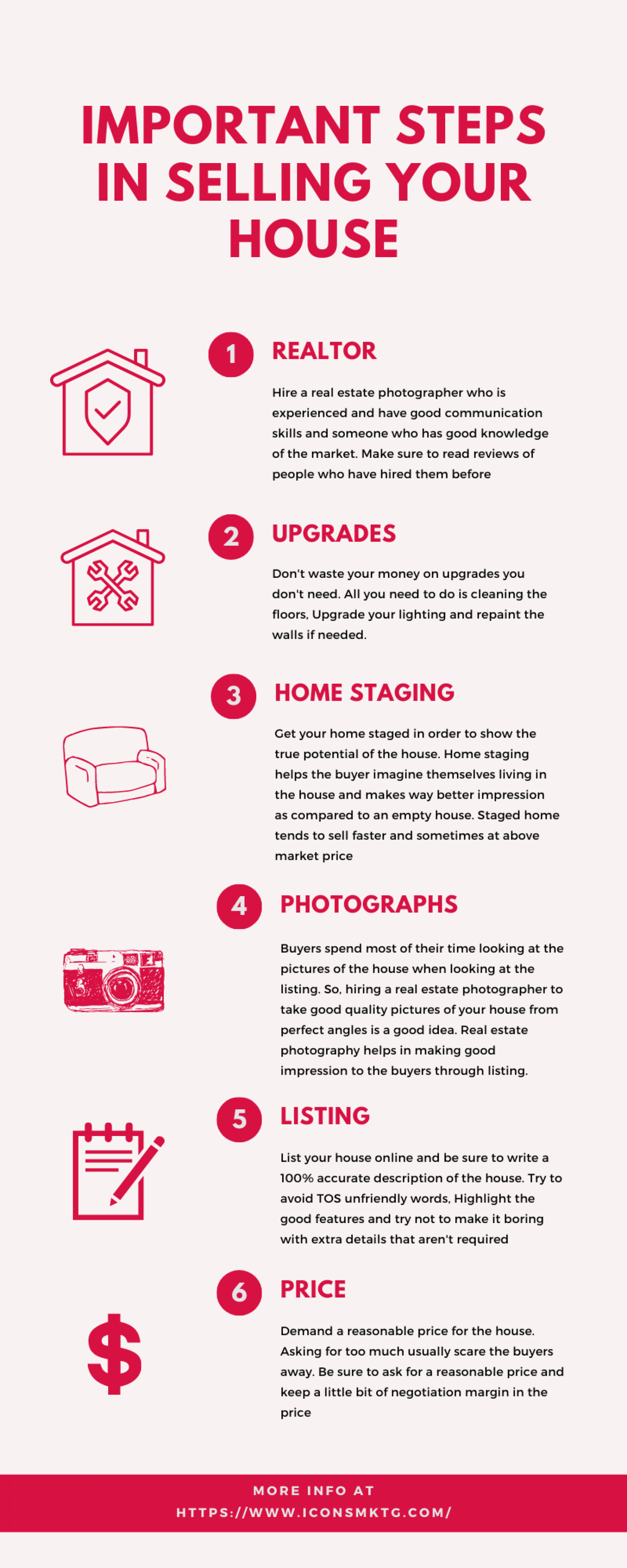 Important steps in selling your house Infographic