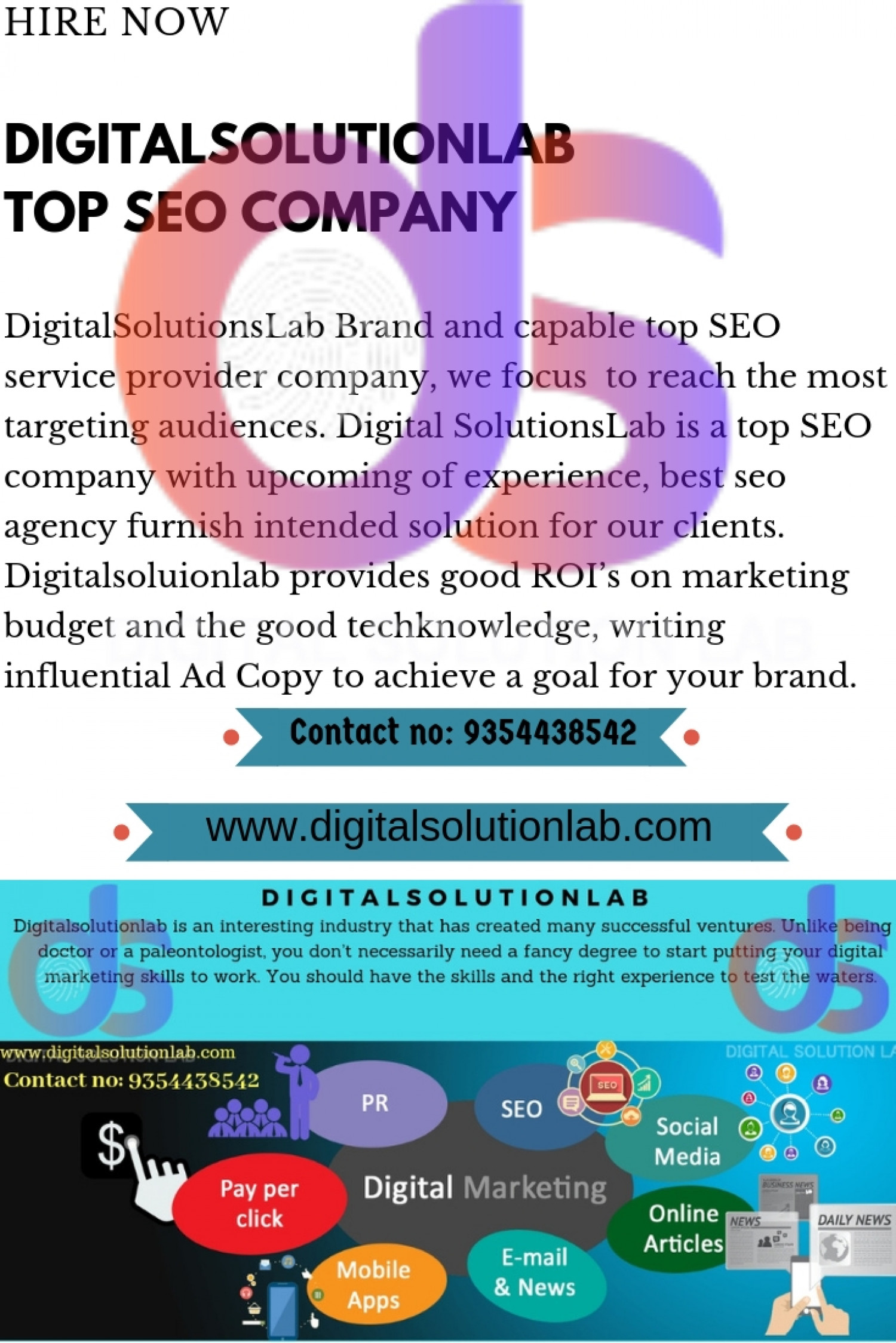 Improve Your ROI choose Digital Solutions Lab for social media marketing services Infographic