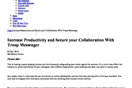 Increase Productivity and Secure your Collaboration With Troop Messenger Infographic