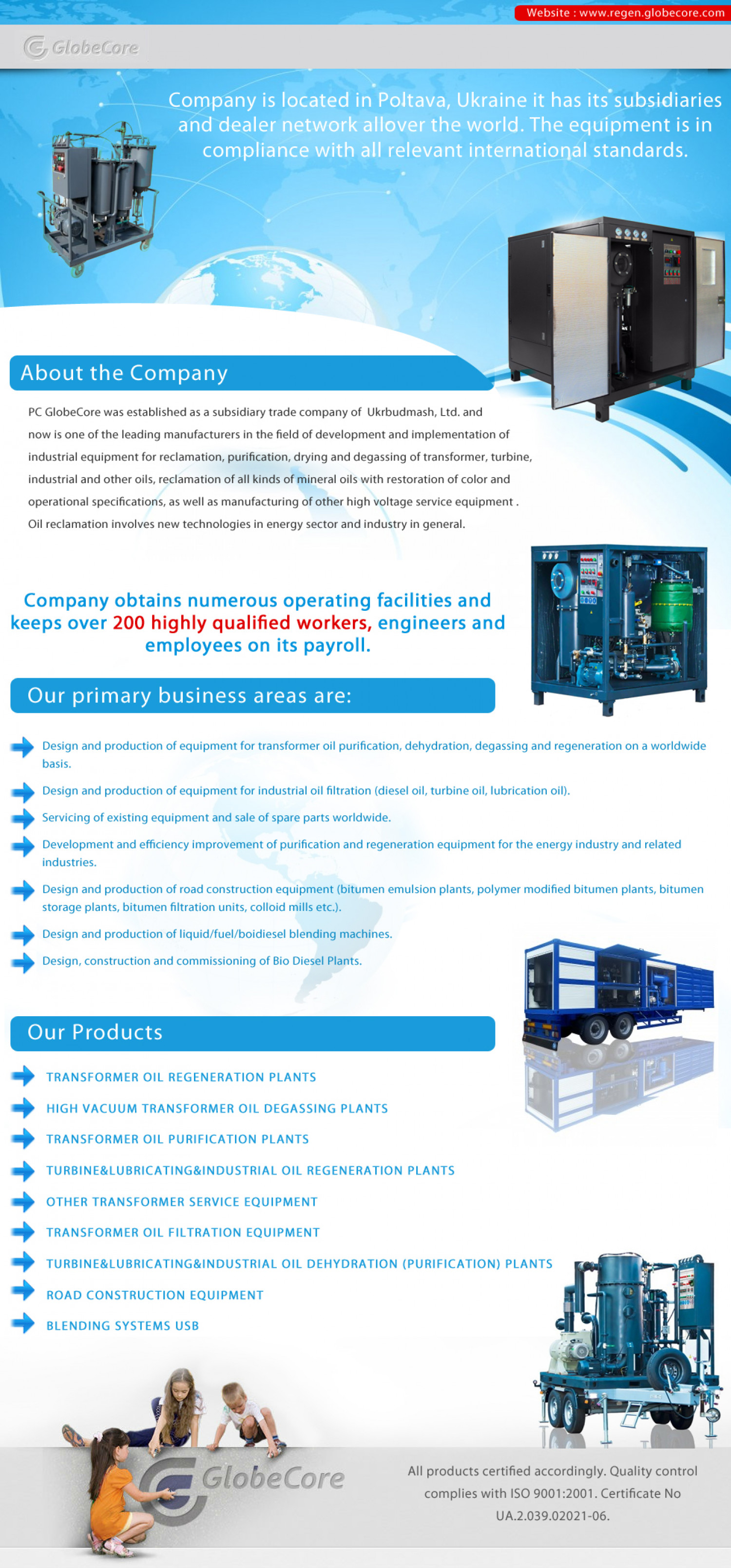 Industrial equipment by GlobeCore PC Infographic
