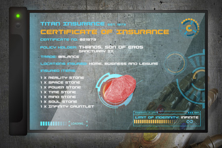 Infinity Stones Insurance Certificate Infographic