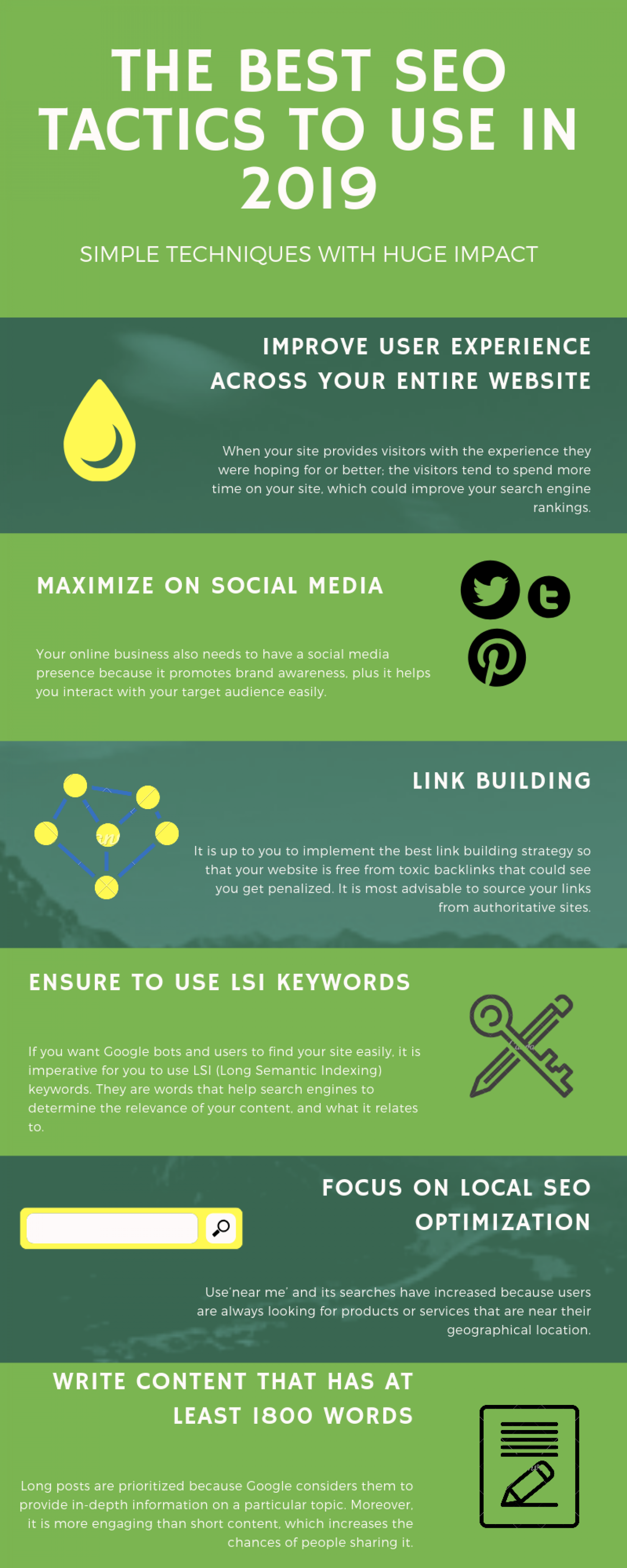 Info-graphic for The Best SEO Tactics to Use in 2019 Infographic