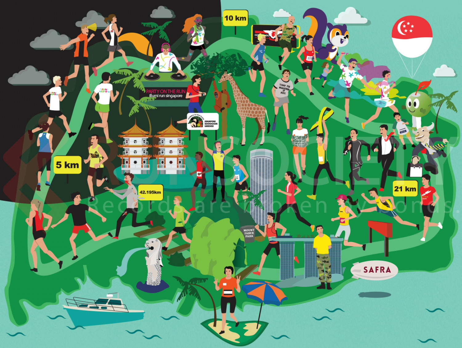 Singapore Popular Running Events at a Glance Infographic