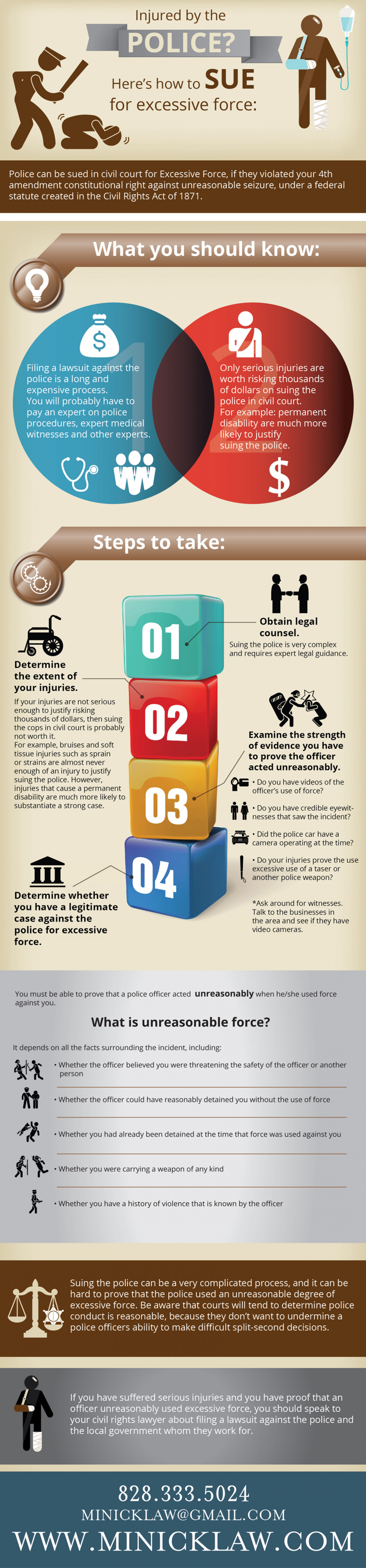 Injured by the Police?  Here's how to sue for excessive force Infographic
