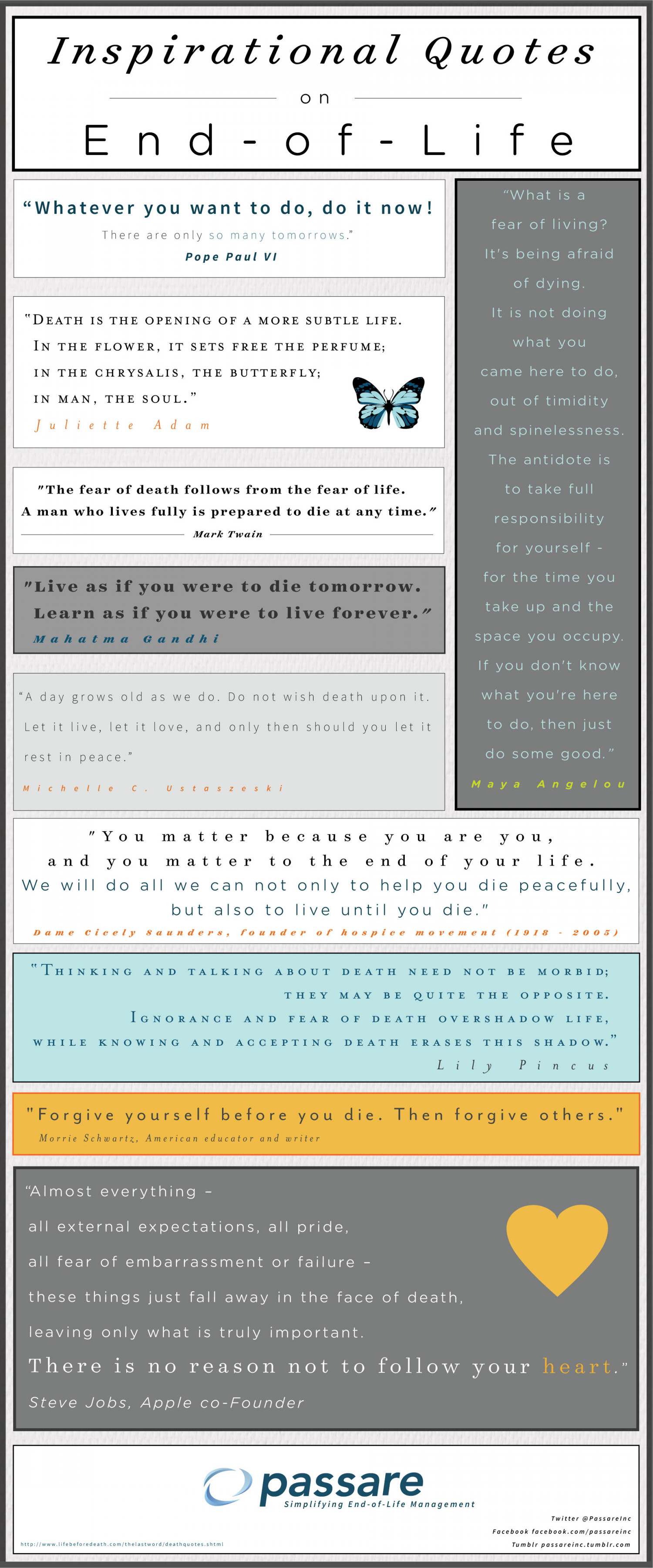 Inspirational Quotes On End Of Life Infographic