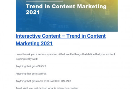 Interactive Content – Trend in Content Marketing 2021 Infographic