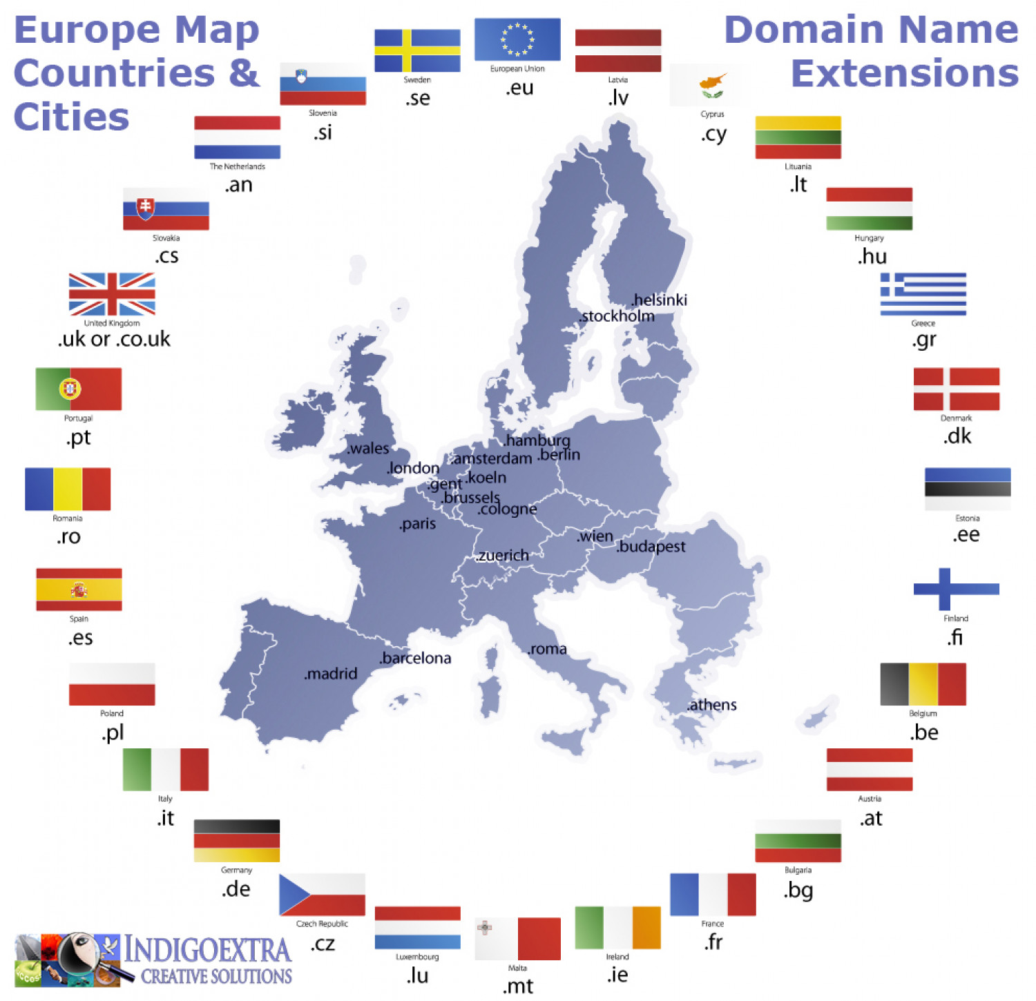 International Domain Extensions Map Of Europe Visual Ly