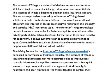 Internet of Things in Insurance Market Size, Share, Trends, Growth, Export Value, Shipment Infographic