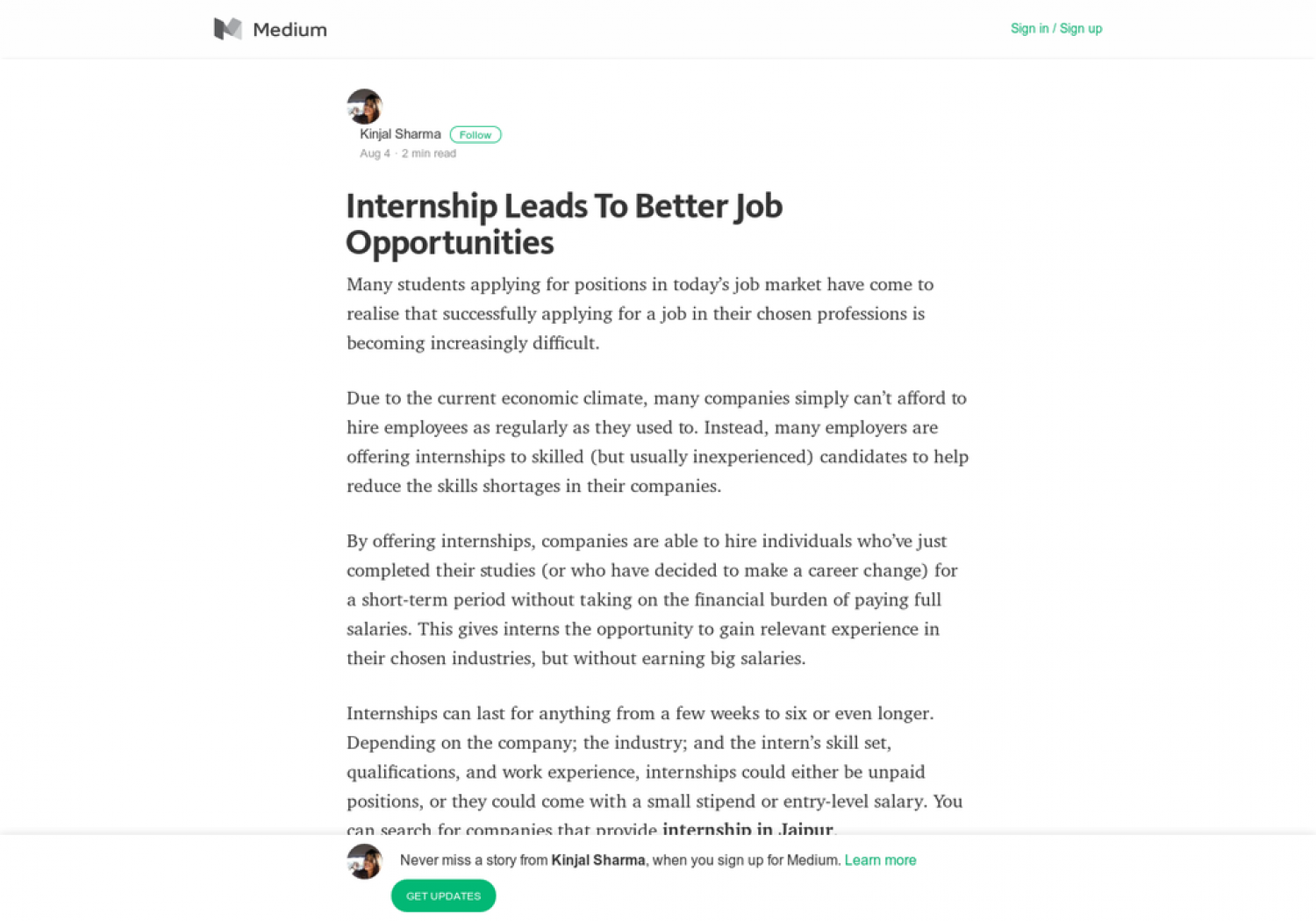 Internship Leads To Better Job Opportunities Infographic