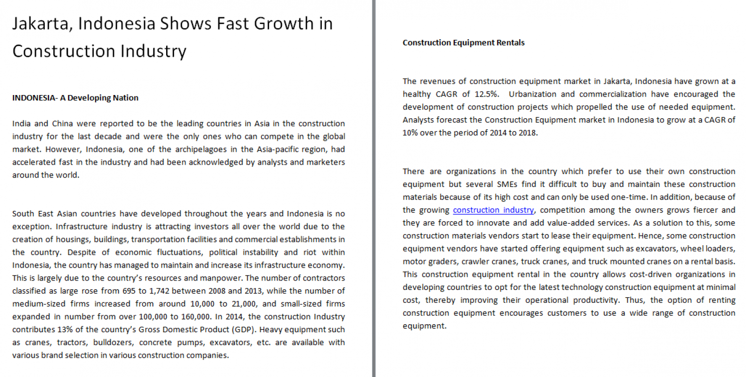 Jakarta, Indonesia Shows Fast Growth in Construction Industry Infographic