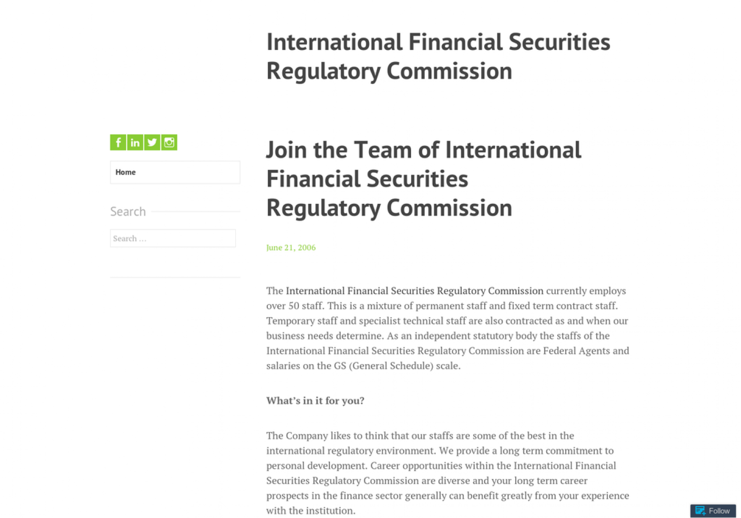 Join the Team of International Financial Securities Regulatory Commission Infographic