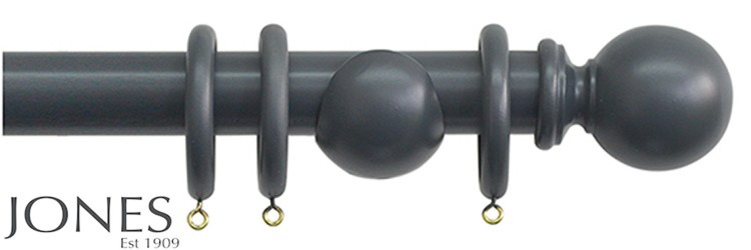 Jones Shore 35mm Wood Curtain Pole Charcoal - The Poles Company Infographic
