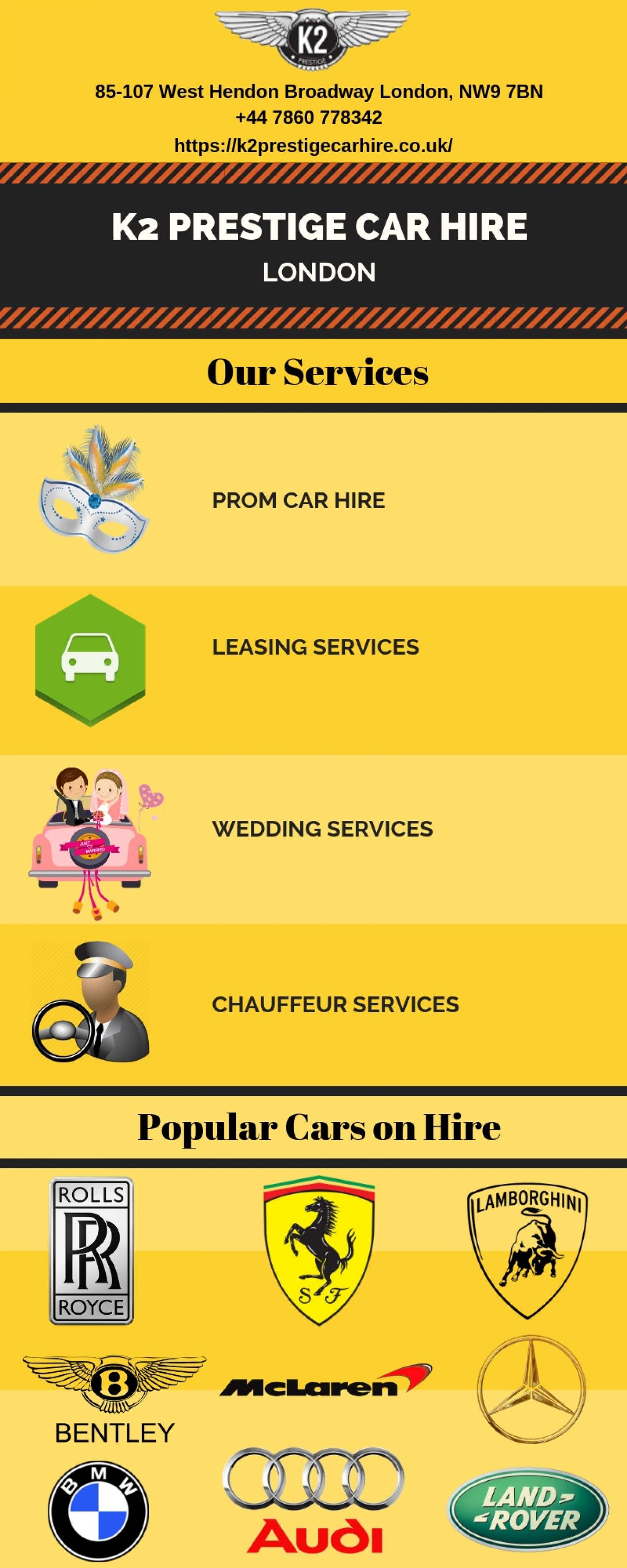K2 Prestige Car Hire in London Infographic