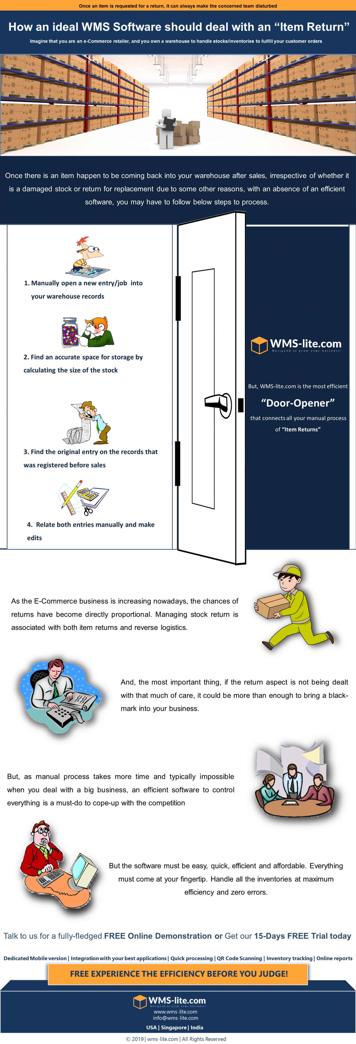 "Keep your E-Commerce doors open for an ""Item Return"". The ""Smooth-handle"" of eWMS.  Infographic"
