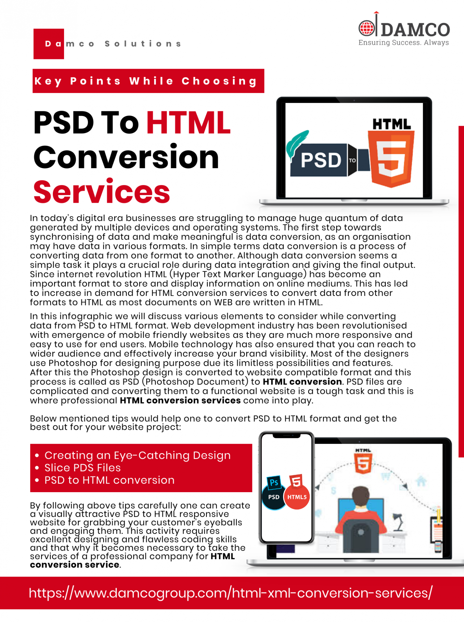 Key Points While Choosing PSD To HTML Conversion Services Infographic