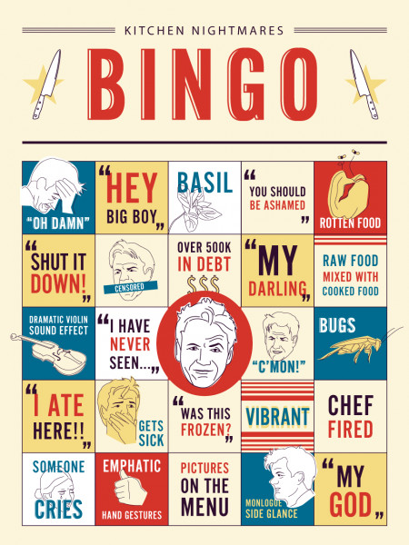 Kitchen Nightmares Bingo Infographic