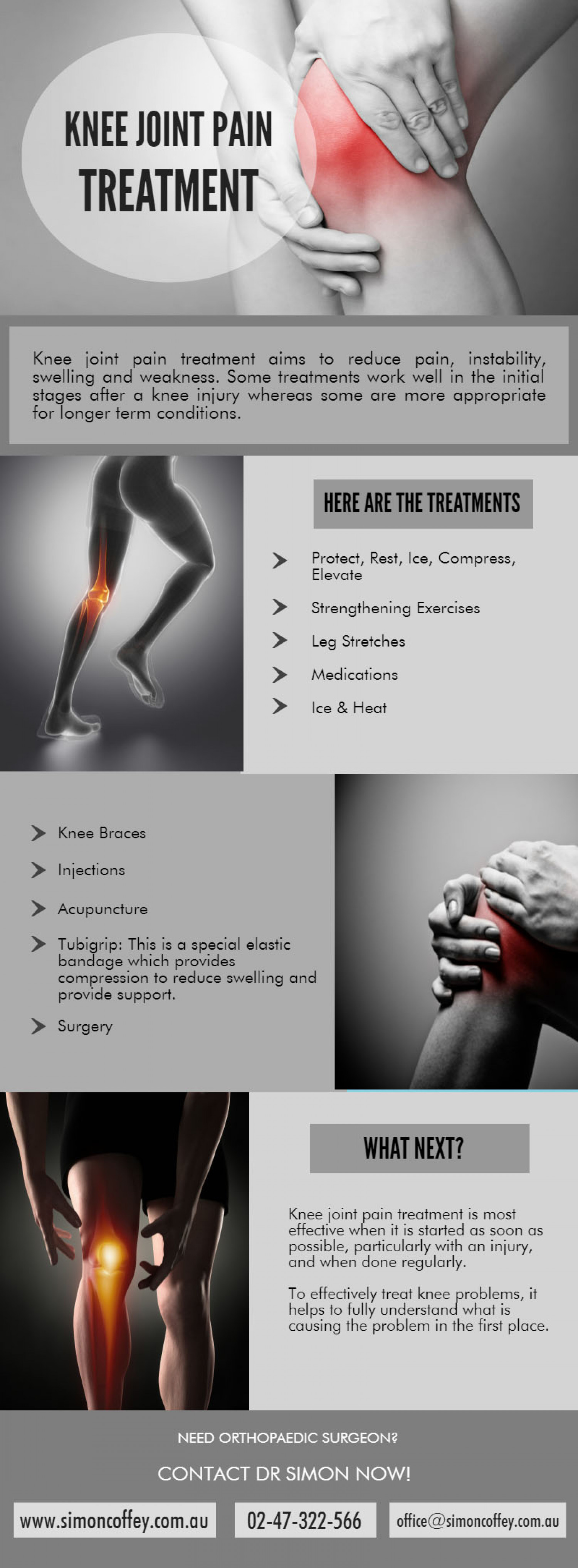 Knee Replacement Joint Pain Treatment - Dr. Simon Coffey Infographic