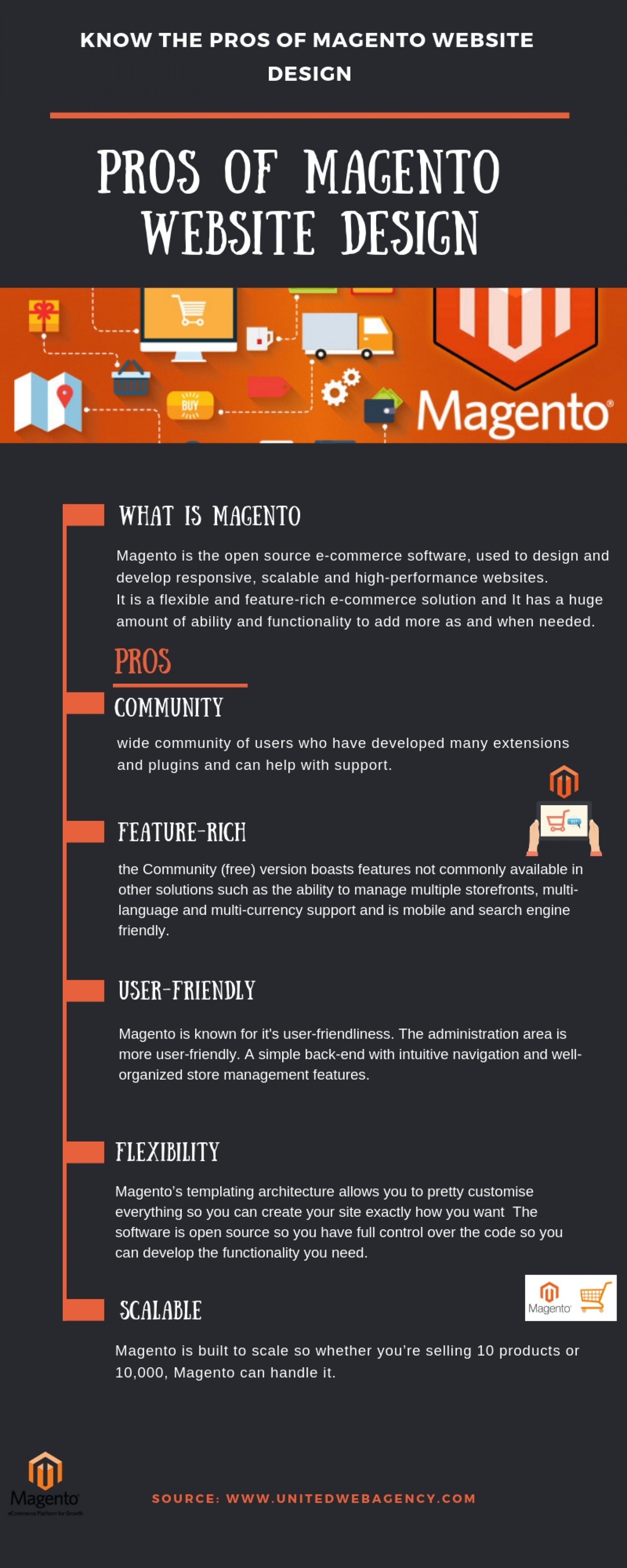Know the Pros of Magento Website Design Infographic
