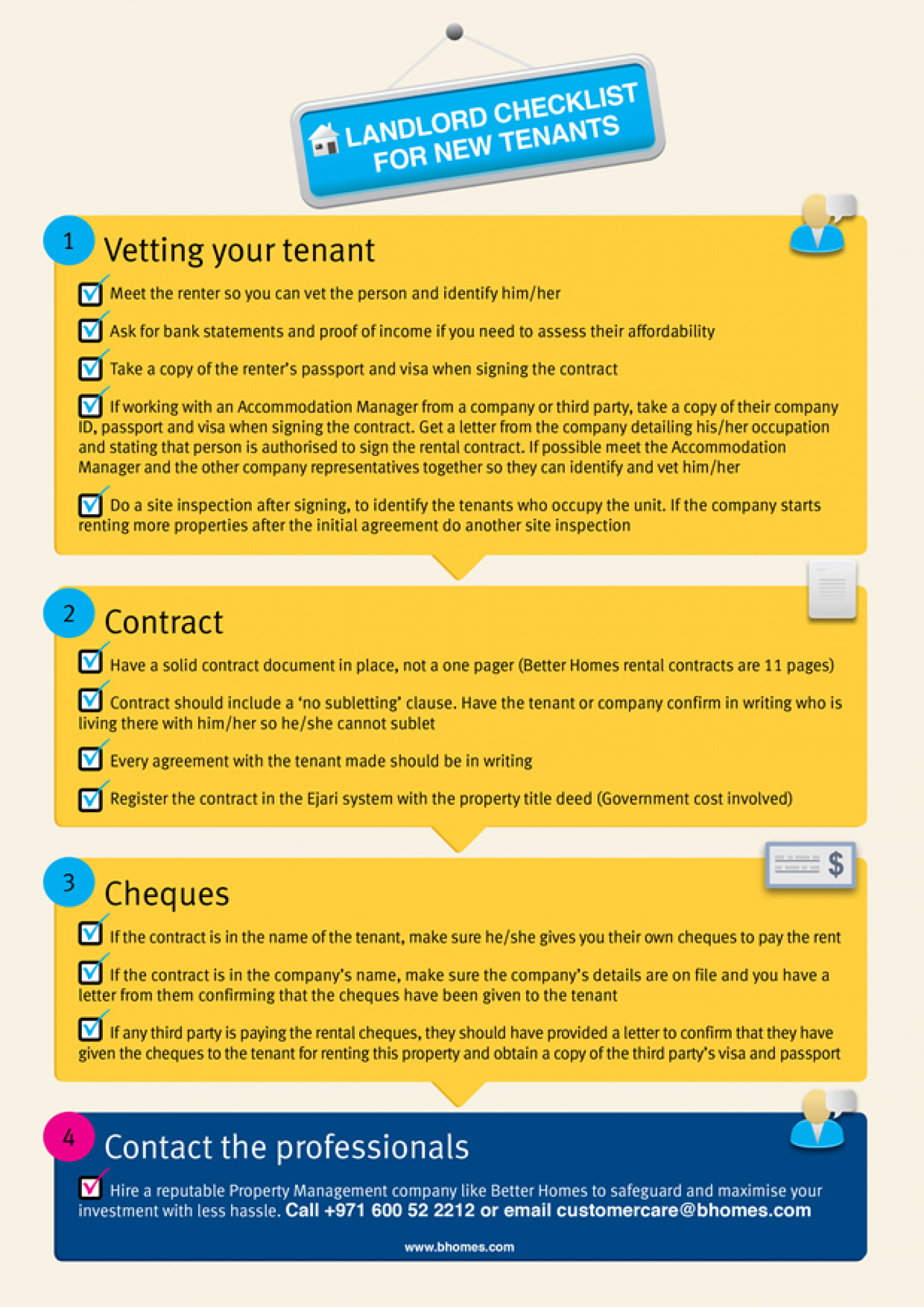 Landlord Checklist For New Tenants Infographic