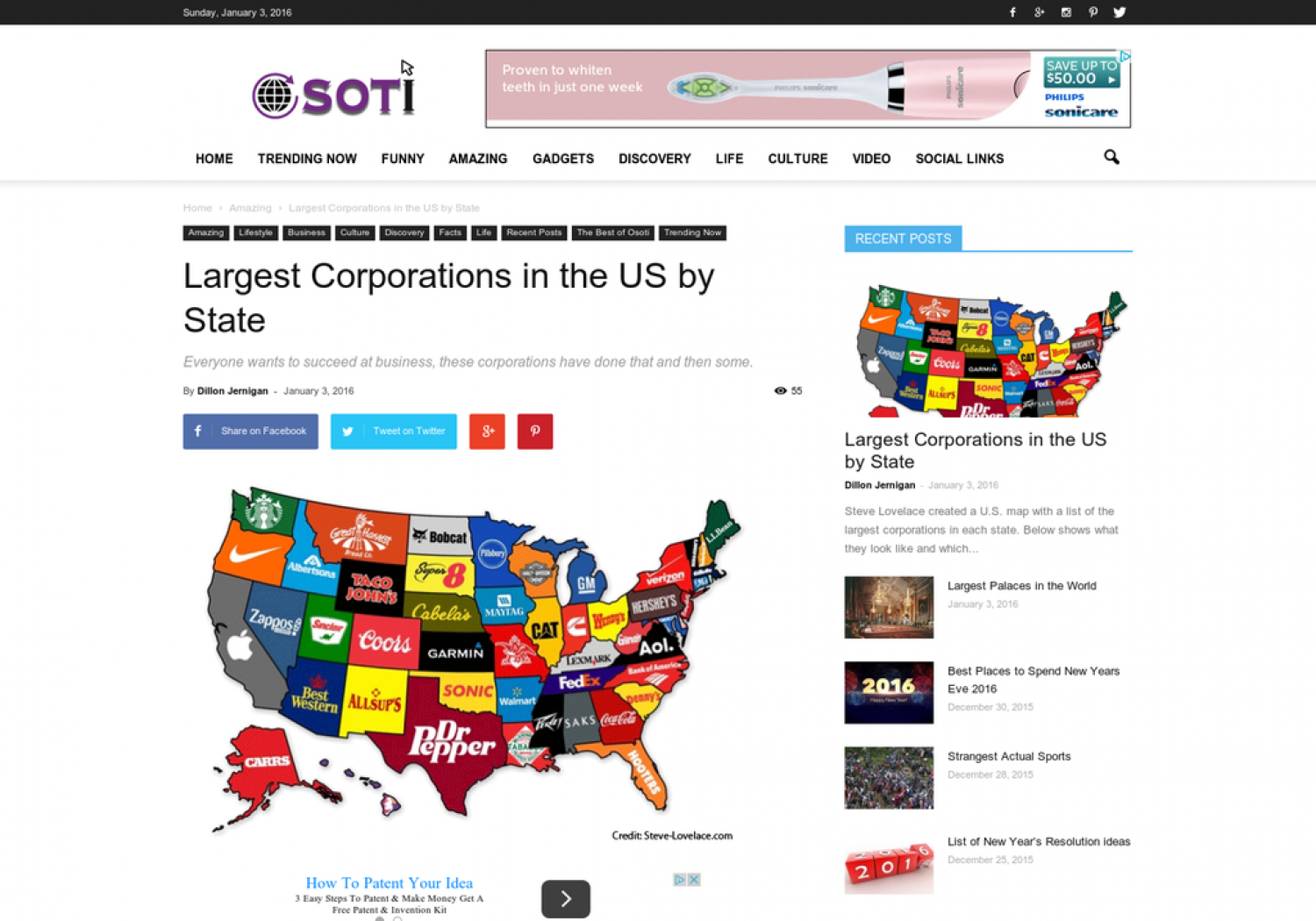 Largest Corporations in the US by State Infographic