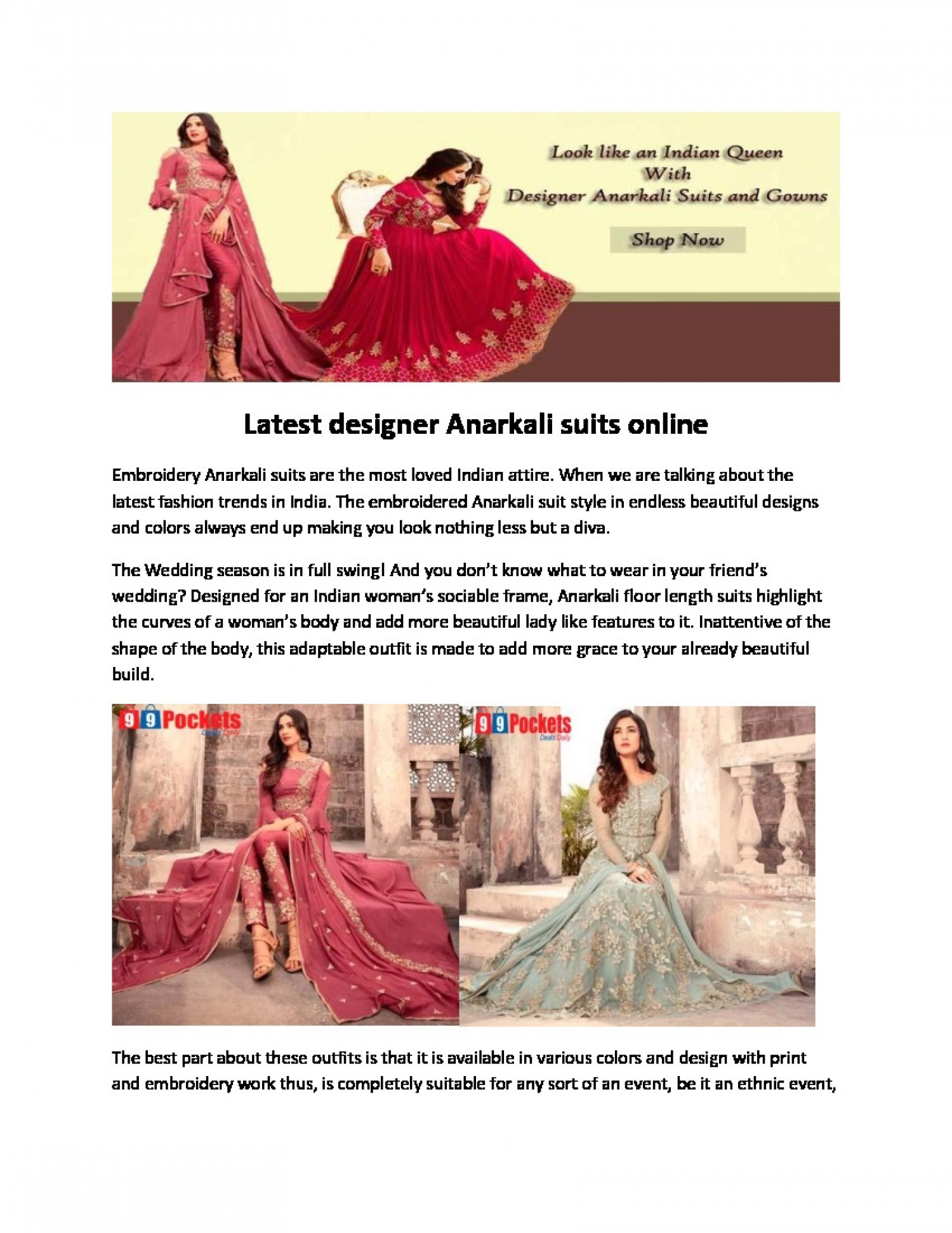 Latest designer Anarkali suits online Infographic