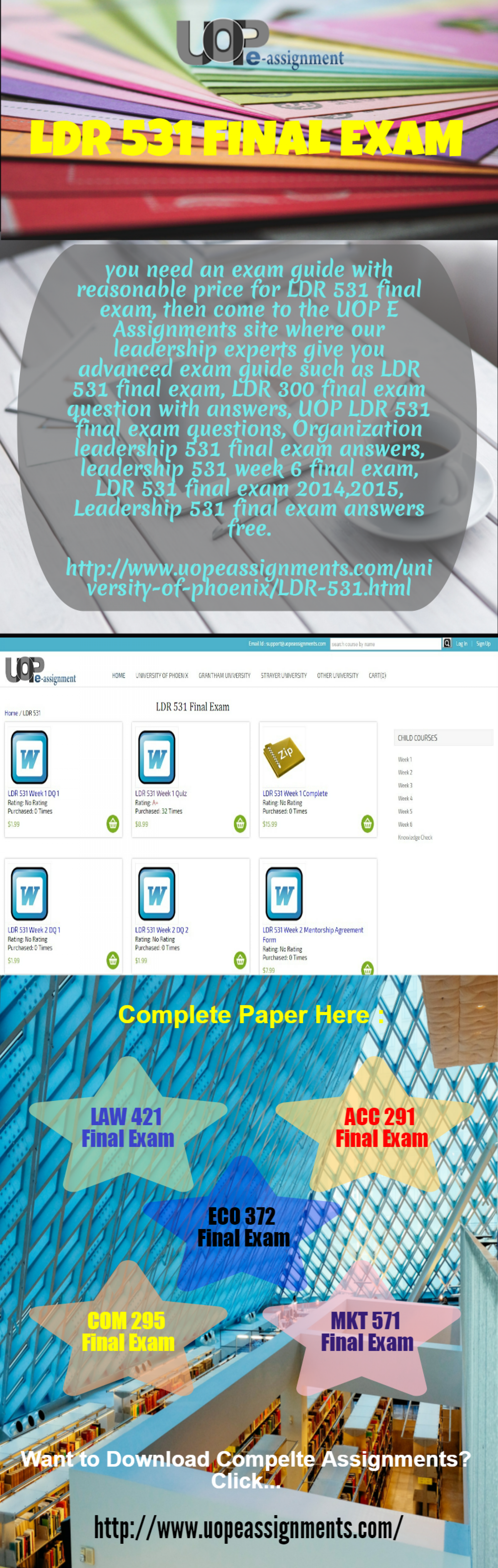 LDR 531 Final Exam - UOP E Assignments Infographic