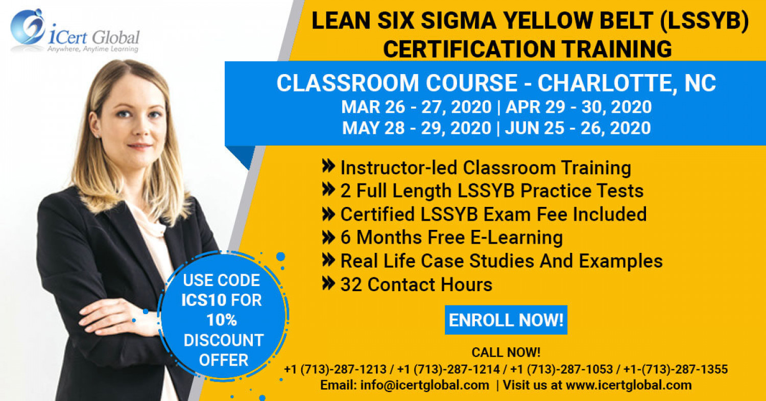 Lean Six Sigma Yellow Belt (LSSYB) Certification Training Charlotte, NC Infographic