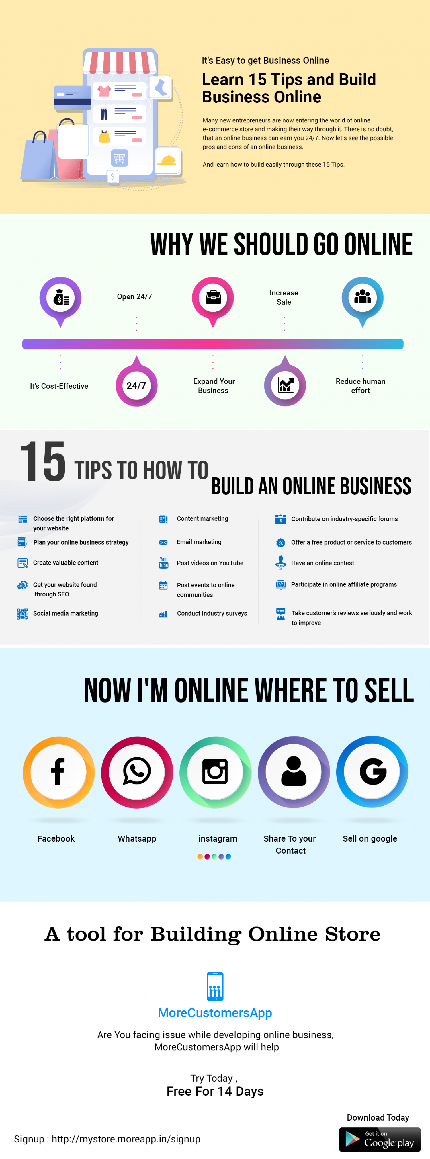 Learn 15 Tips to Get Your Business Online Infographic