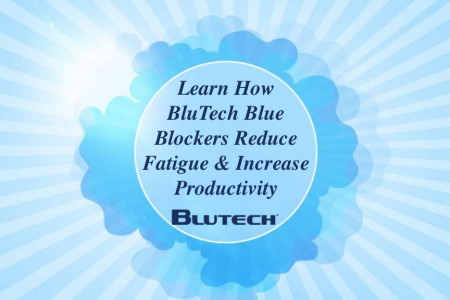 Learn How BluTech Blue Blockers Reduce Fatigue & Increase Productivity Infographic