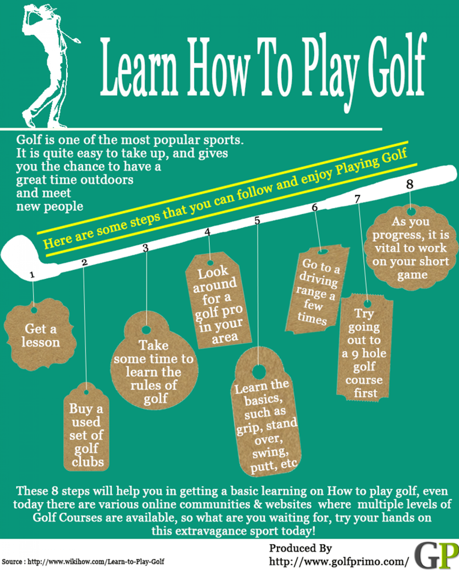 Learn How To Play Golf Infographic