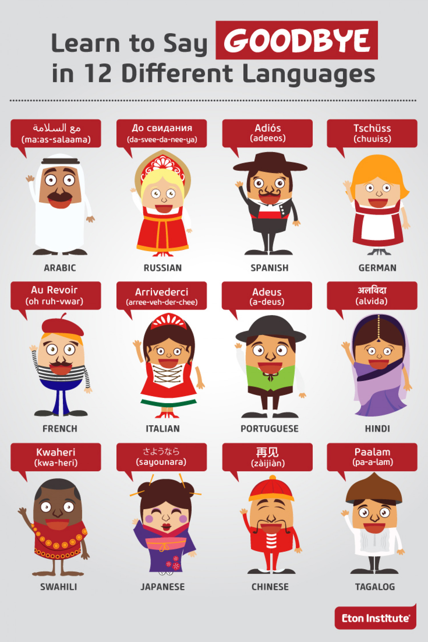 Learn to Say Goodbye in 12 Different Languages  Infographic