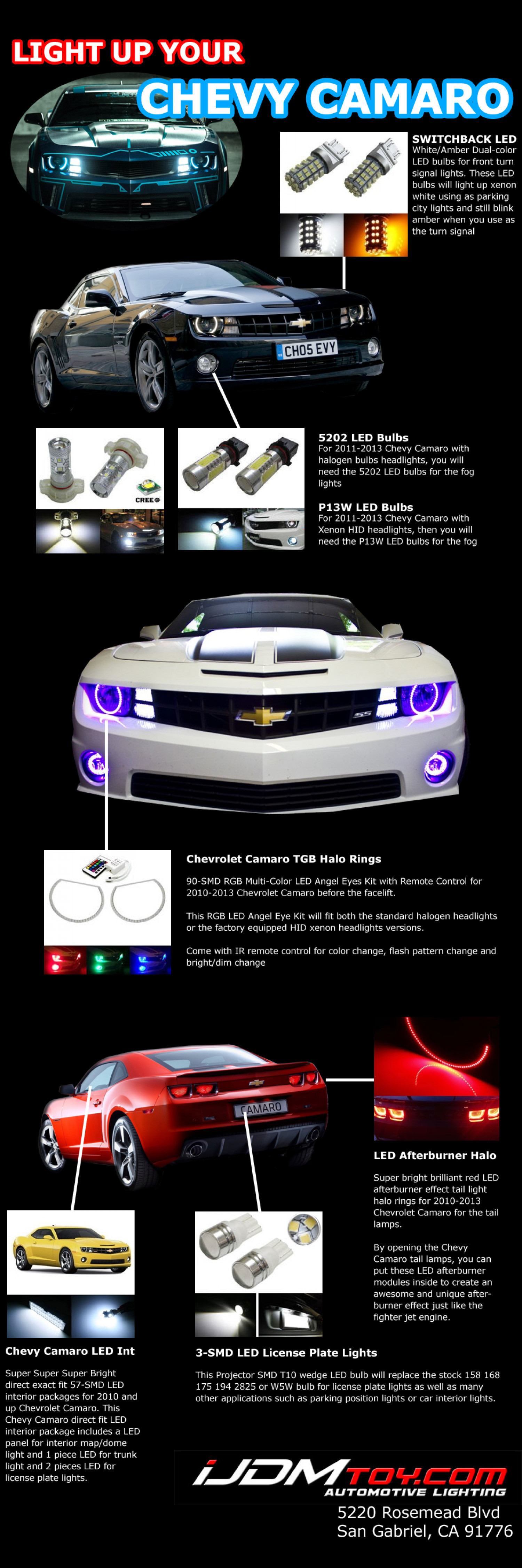 LED Lights For Chevy Camaro, Light up your ride with tons of LED goodies Infographic