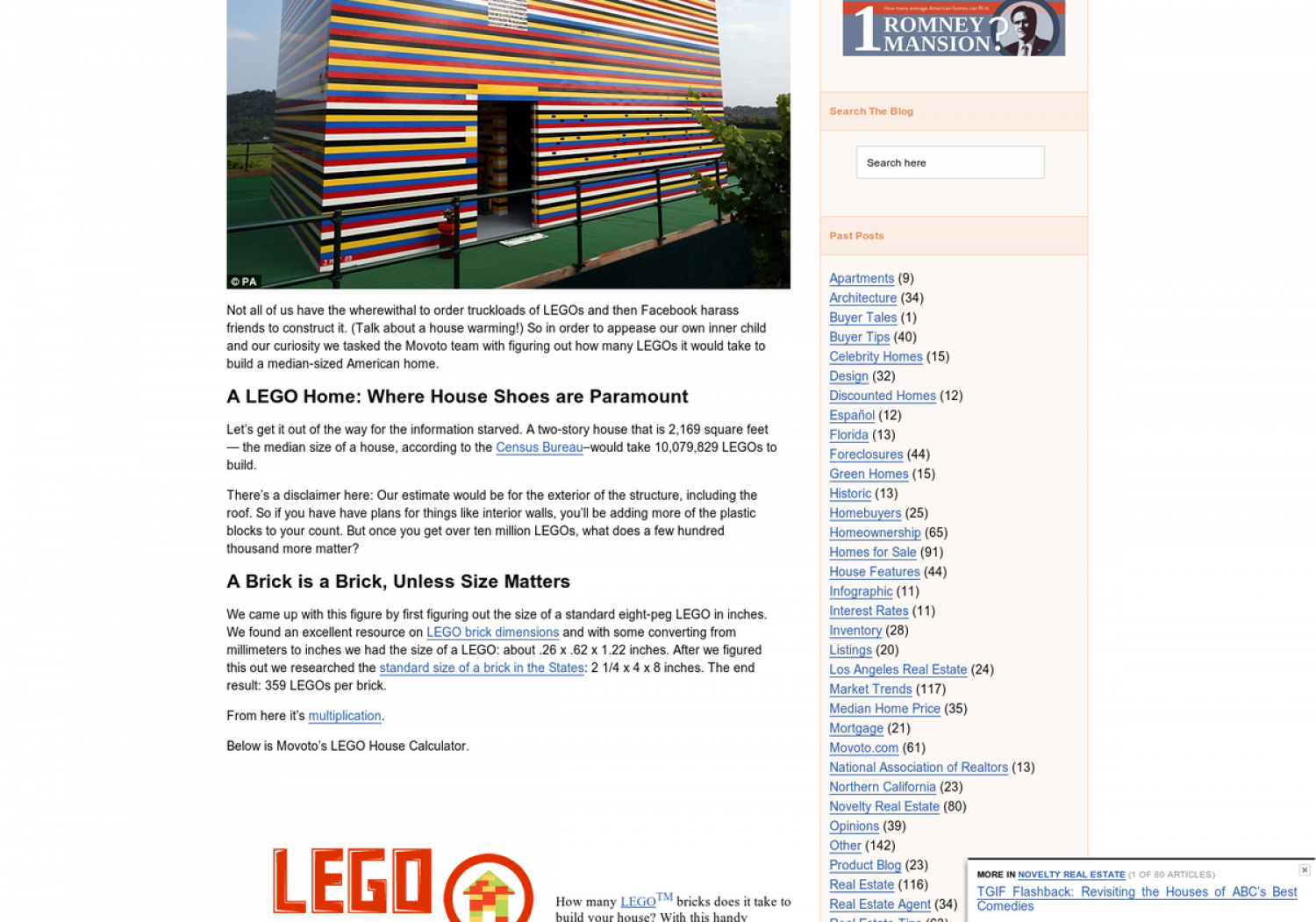 Lego House Calculator Infographic