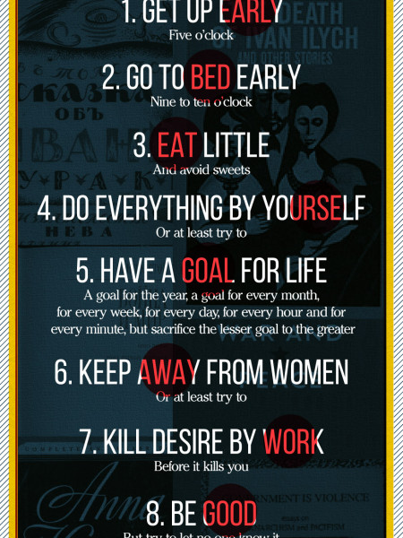 Leo Tolstoy's Manifesto: 10 Gems On How To Be Efficient Infographic