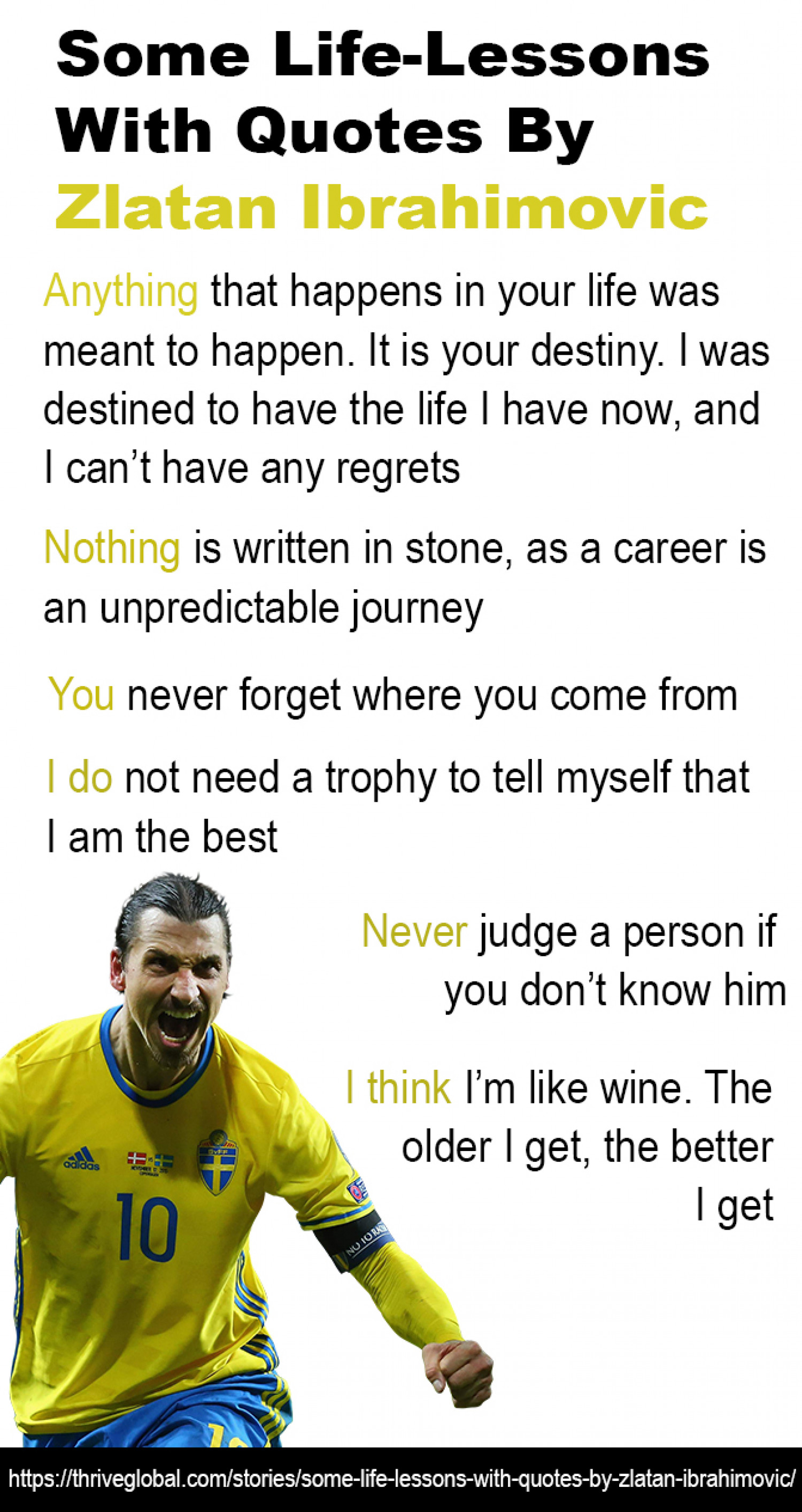 Life Lessons by Zlatan Ibrahimovic inspirational quotes - Kunal Bansal Chandigarh Infographic