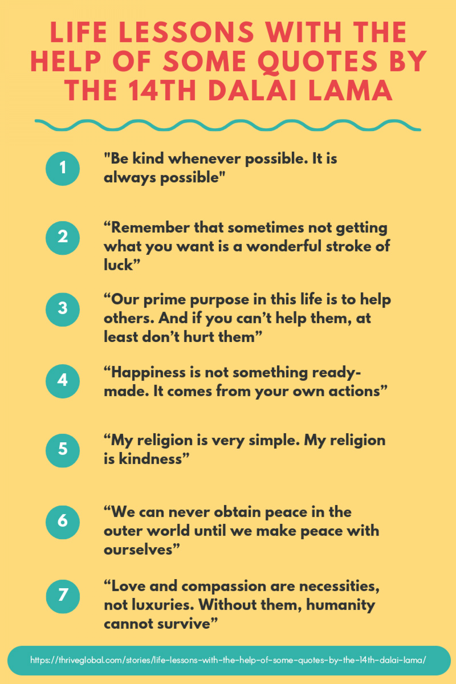 Life Lessons With The Help Of Some Quotes By The 14th Dalai Lama Infographic