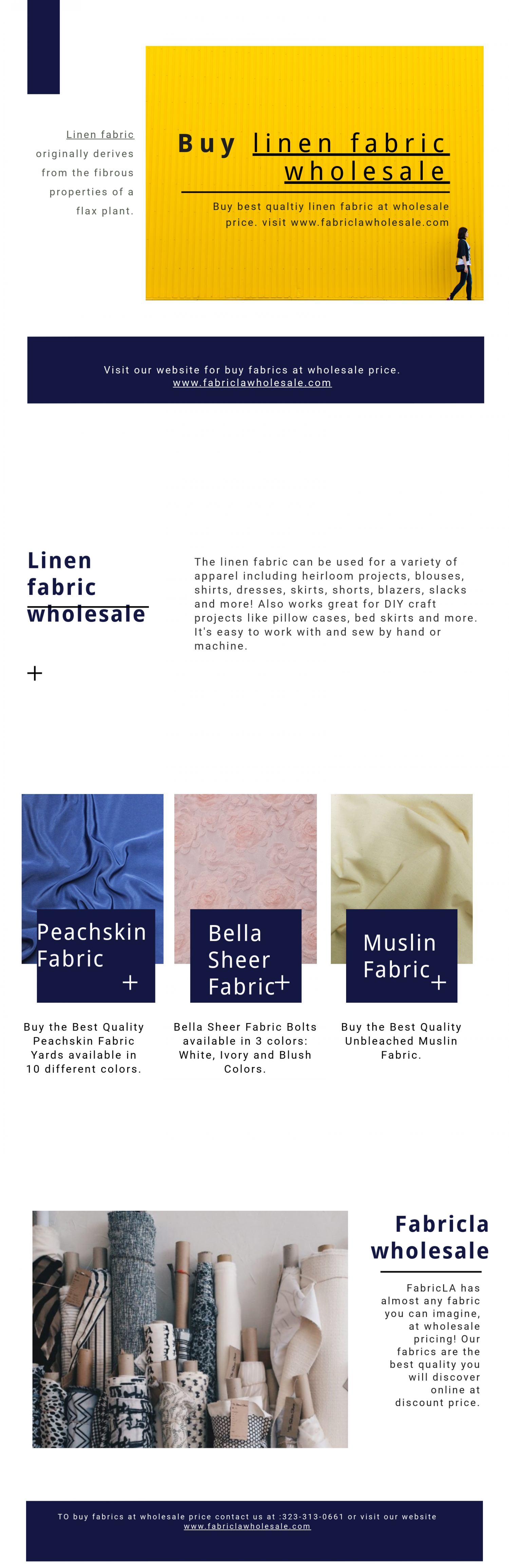 Linen fabirc at wholesale price. Infographic